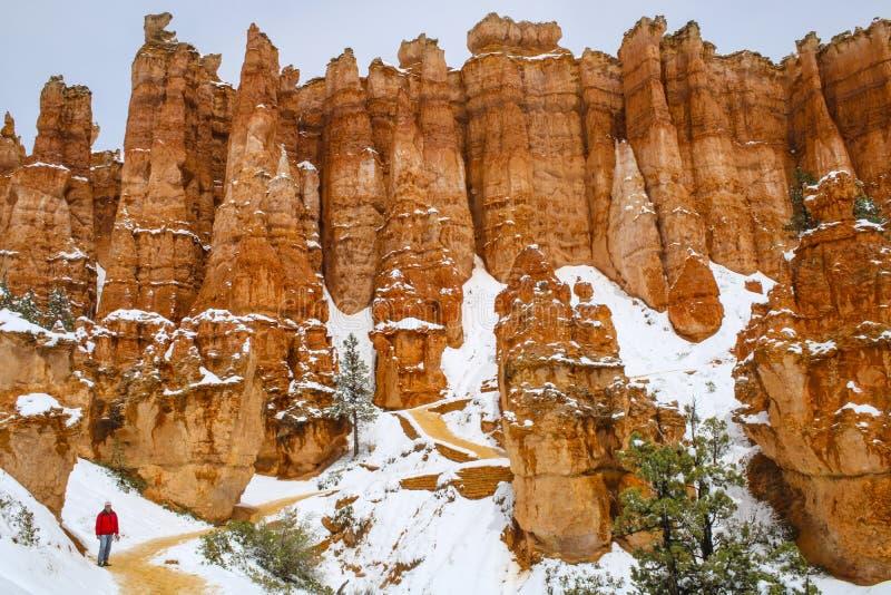 Toneelongeluksboden in Bryce-canion nationaal park met sneeuw stock fotografie
