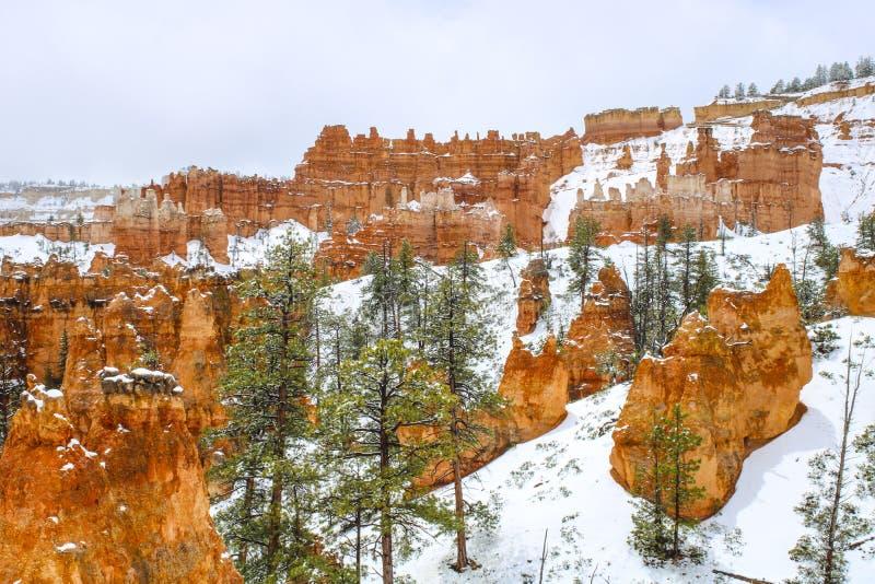 Toneelongeluksboden in Bryce-canion nationaal park met sneeuw stock afbeeldingen