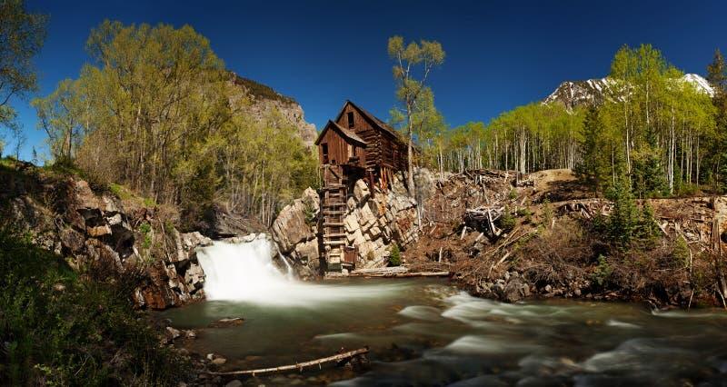 Toneelpanorama van Crystal Mill in Colorado royalty-vrije stock afbeelding