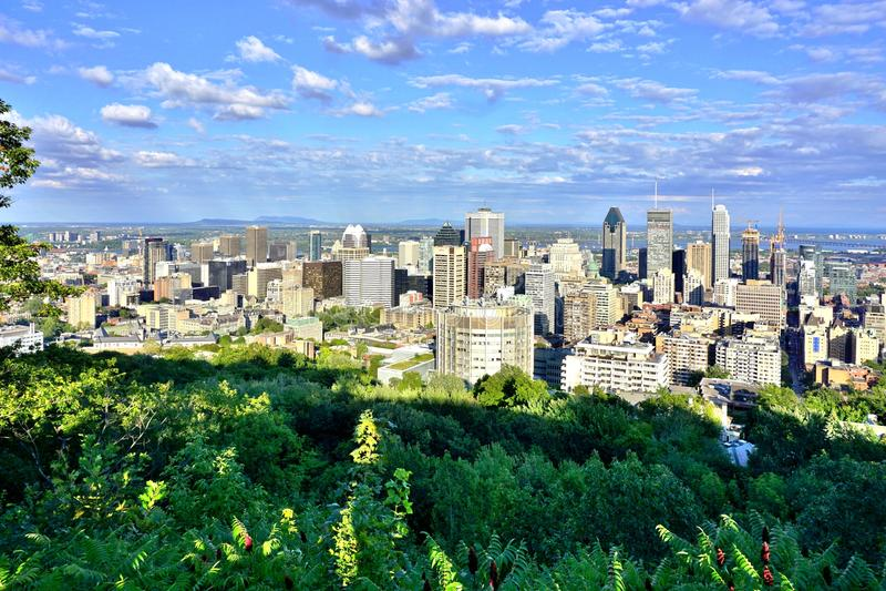 Toneelpanorama van Montreal in Quebec, Canada stock fotografie