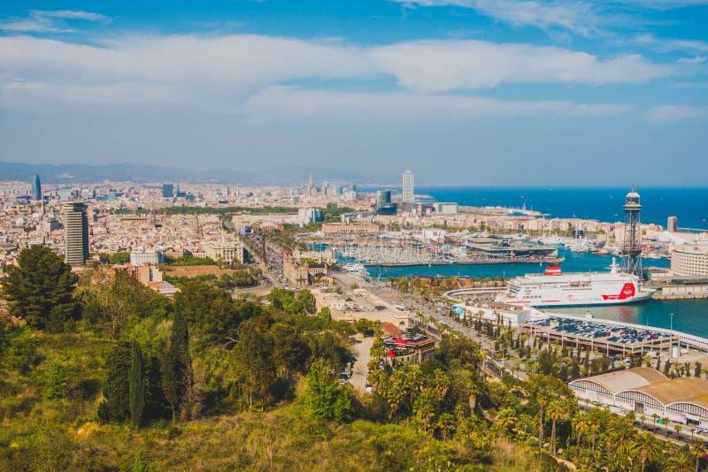 Toneelsatellietbeeld van Barcelona vanaf de bovenkant van Montjuict, Catalonië, Spanje stock afbeeldingen