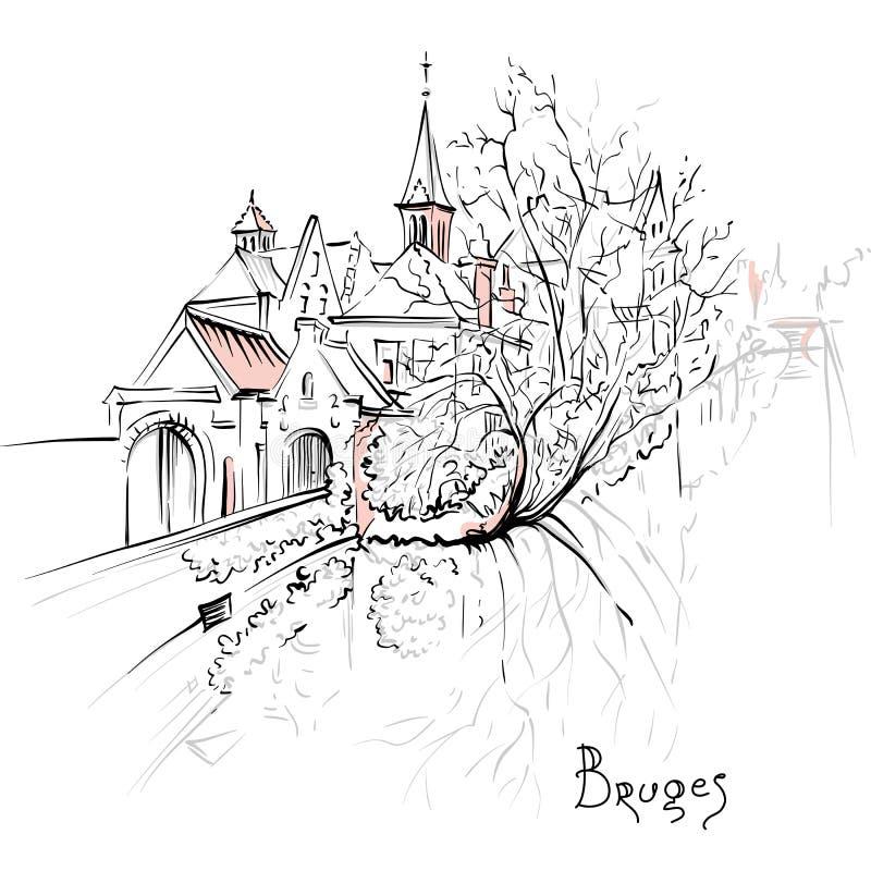 Toneelstadsmening van het kanaal van Brugge met mooie huizen royalty-vrije illustratie