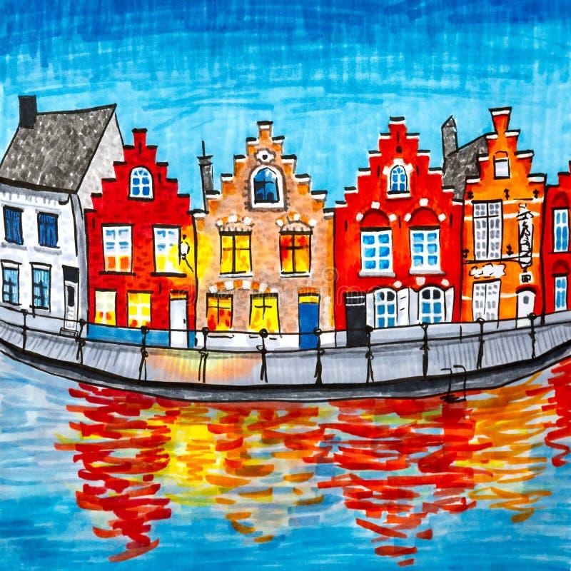 Toneelstadsmening van het kanaal van Brugge met mooie huizen vector illustratie