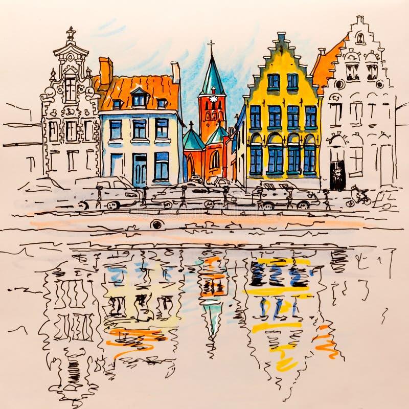 Toneelstadsmening van het kanaal van Brugge met mooie huizen stock illustratie