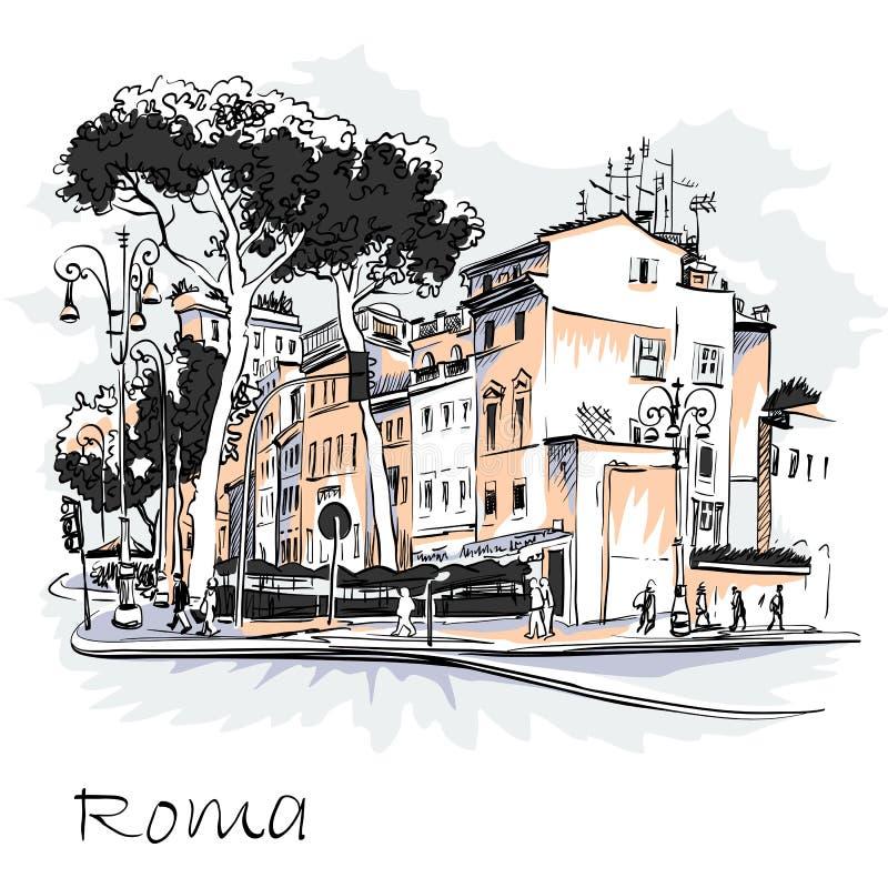 Toneelstadsmening van Rome, Italië stock illustratie