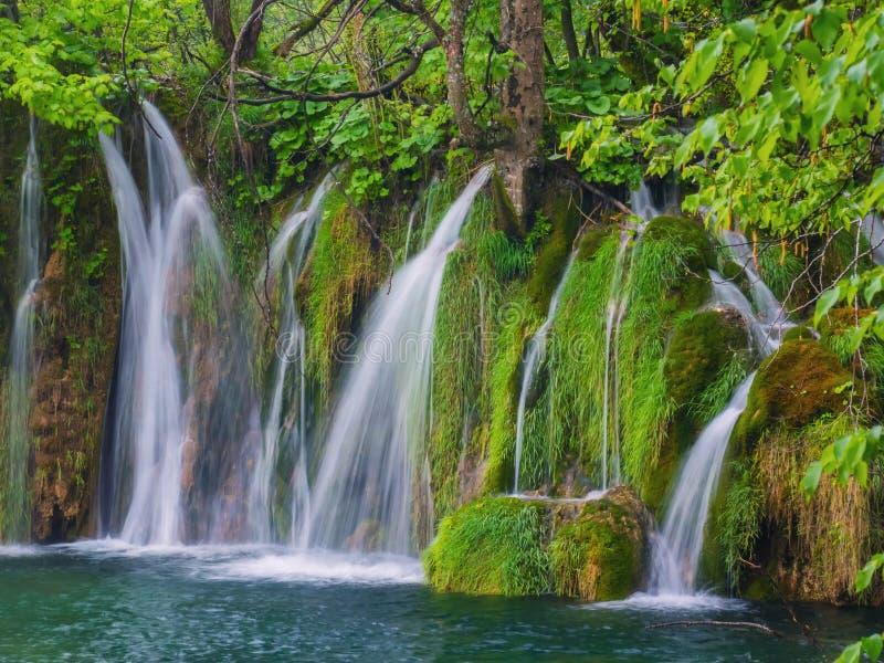 Toneelwaterval diep in het bos met stromen van kristalclea stock afbeelding