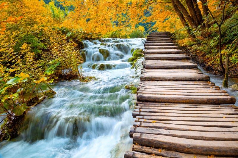 Toneelwatervallen en houten weg - Dalingsseizoen royalty-vrije stock foto