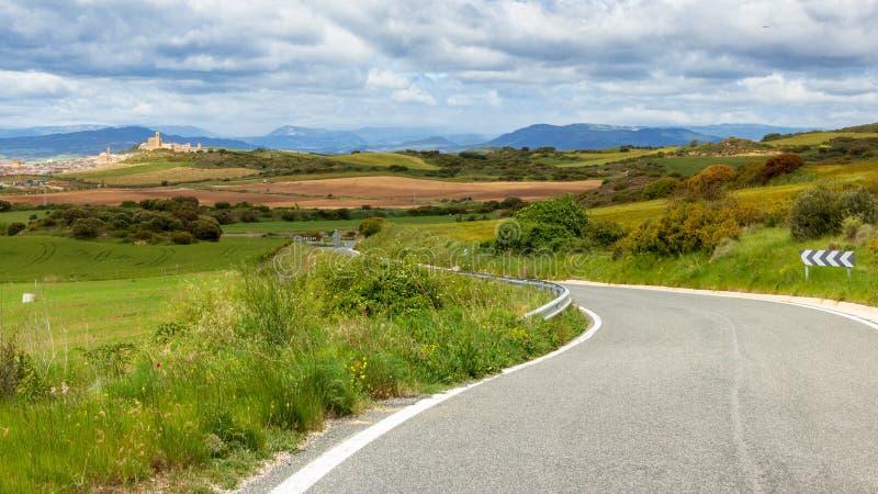 Toneelweg Navarra Spanje stock foto