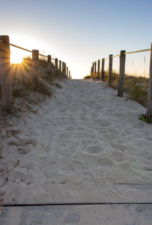 Toneelzonsondergang op strand met houten omheining Ingang aan strand in avondzonlicht Houten kolommen en weg op zand royalty-vrije stock afbeelding