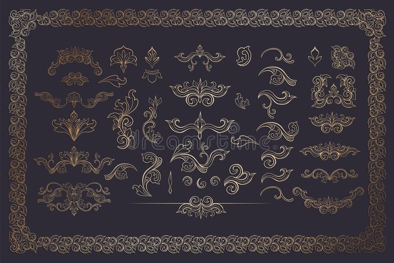 Tonelero Color Flourishes Collection en fondo oscuro ilustración del vector