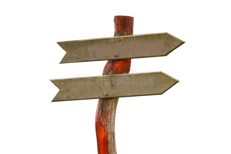 Tonen de verkeersteken die houten pijlen de richting van de weg op witte achtergrond wordt geïsoleerd stock afbeelding