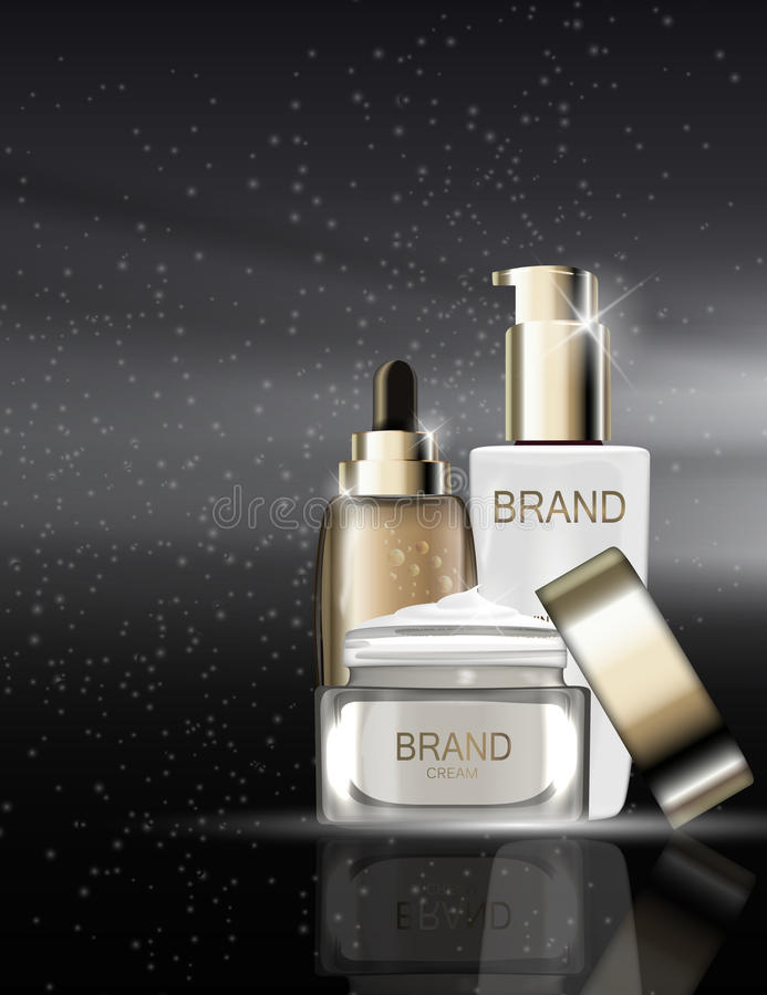 Toner de peau, crème de visage et concentré d'hydration BO d'essence d'huile illustration libre de droits