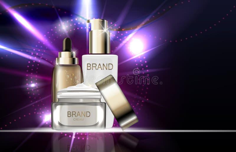 Toner de peau, crème de visage et concentré d'hydration BO d'essence d'huile illustration de vecteur