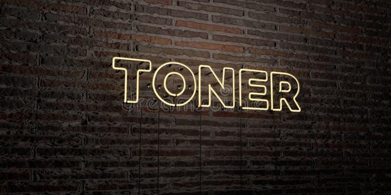 TONER - Realistyczny Neonowy znak na ściana z cegieł tle - 3D odpłacający się królewskość bezpłatny akcyjny wizerunek ilustracja wektor