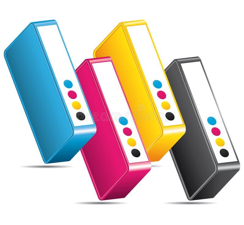 Icône d'impression de couleurs de CMYK CMJN. illustration de vecteur