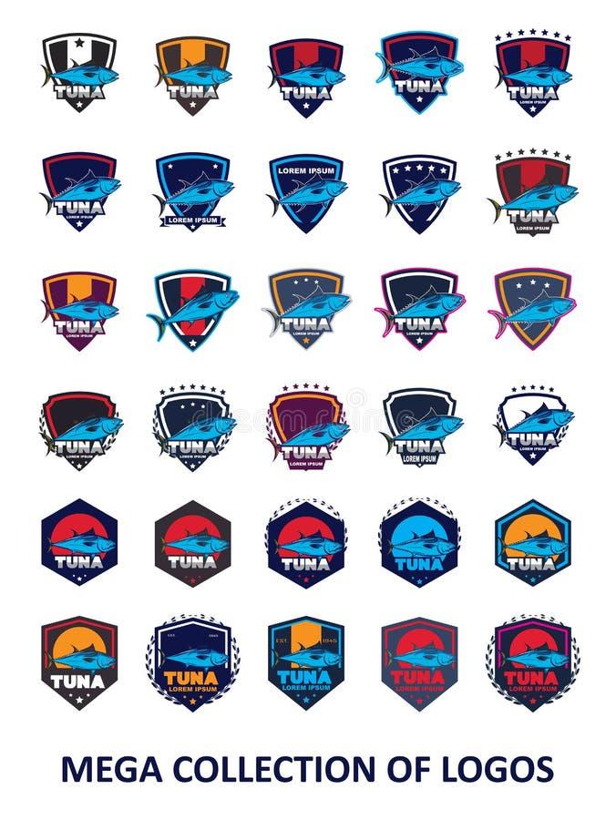 Tonfisklogoer Ställ in av 30 tonfiskdesignetiketter för din affär Mallar för modern design för din lagsport vektor illustrationer