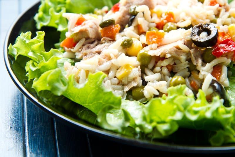 Tonfisksallad med ris och grönsaker royaltyfri foto