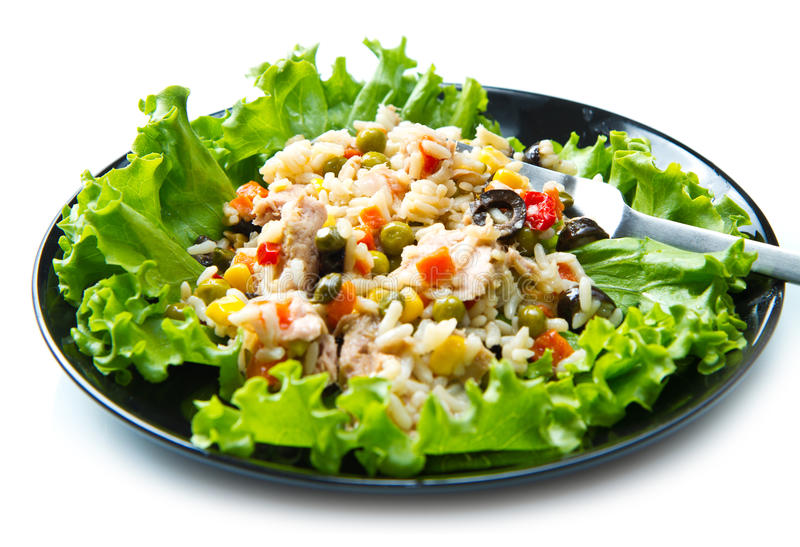 Tonfisksallad med ris och grönsaker royaltyfria bilder