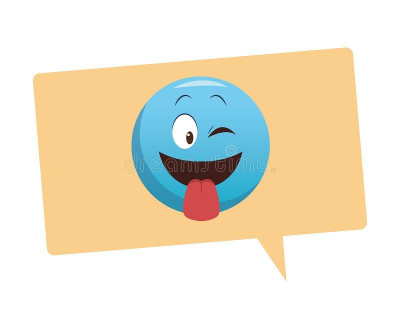 Tong uit emoticon in bel vector illustratie