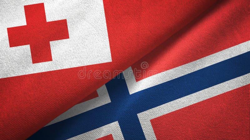 Tonga en Noorwegen twee vlaggen textieldoek, stoffentextuur stock illustratie