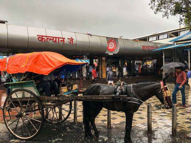 Tongahorse vagn på den Kalyan järnvägsstationen på monsunmaharashtraen INDIEN royaltyfria foton