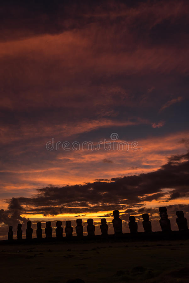 Tongariki ceremonial platform , Easter Island, Chile. Ceremonial platform Ahu of Tongariki with 15 statues Moai`s at sunrise in Easter Island , Chile.Sunrise stock photos