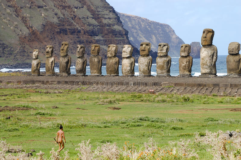 Tongariki Moais - Easter Island. Tongariki Moais in Easter Island royalty free stock photos