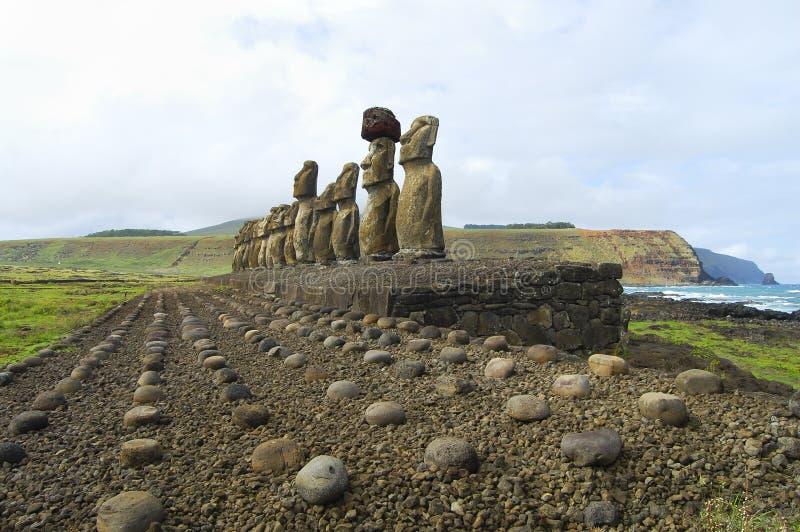 Tongariki Moais. In Easter Island stock photos