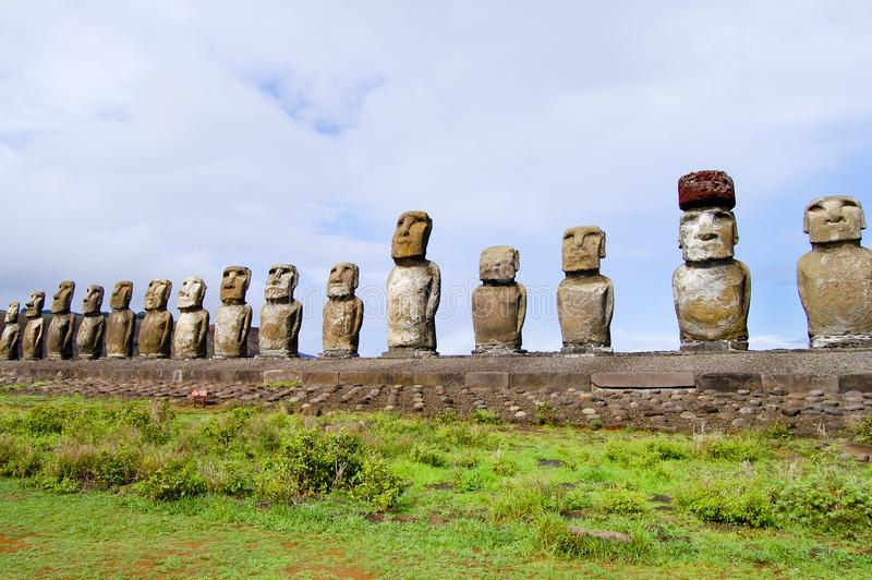 Tongariki Moais. In Easter Island stock images