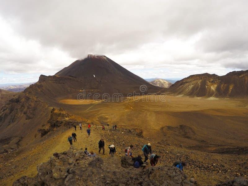 Tongariro高山横穿,新西兰惊人的全景风景视图  免版税库存图片