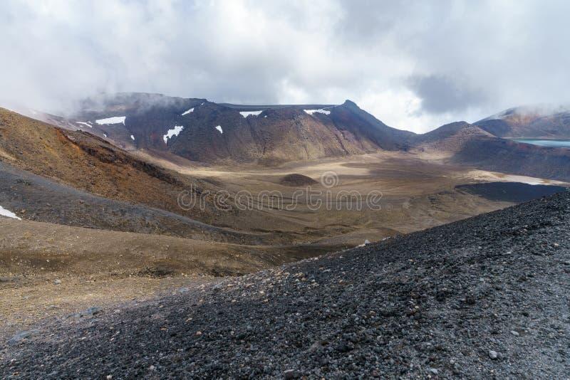 Tongariro高山横穿,鲜绿色湖,火山,新西兰1 免版税库存图片