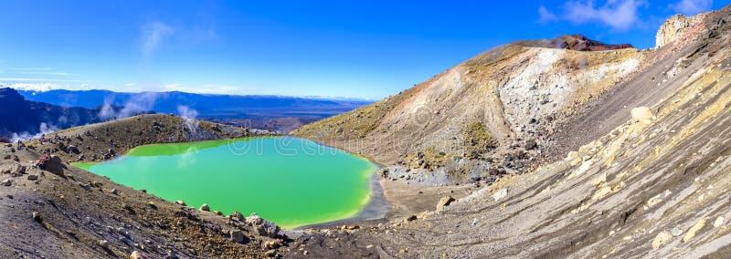 Tongariro alpin korsning panoramor royaltyfri fotografi