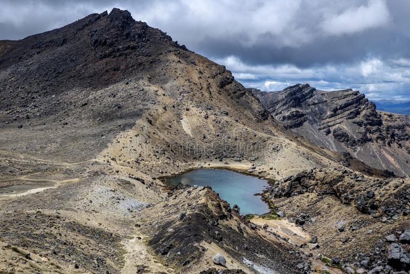 Tongariro Alpine Cross, Blue Lake royalty free stock photos