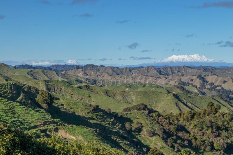 Tongariro-Gebirgszug gesehen von der vergessenen Weltlandstraße lizenzfreies stockbild
