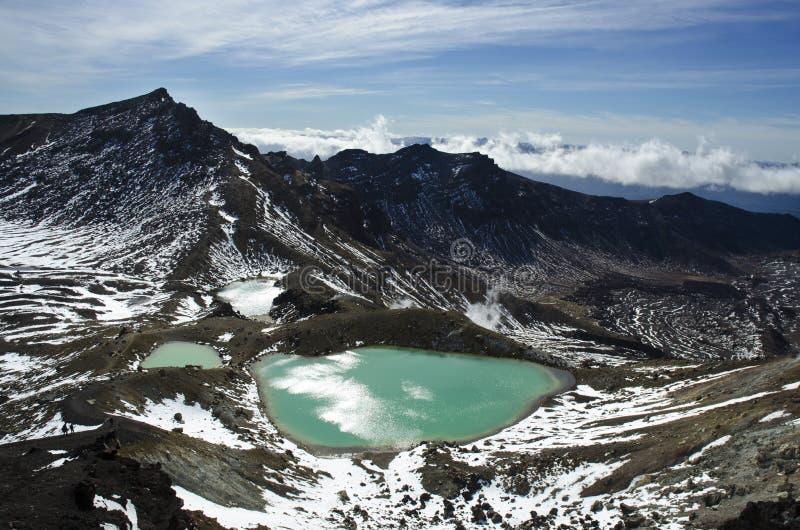 Tongariro przepustki Kwas jezioro obraz royalty free