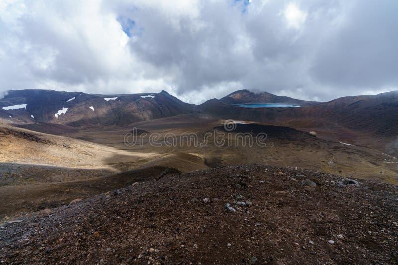 Tongariro wysokogórski skrzyżowanie, szmaragdowi jeziora, wulkan, nowy Zealand 3 fotografia stock