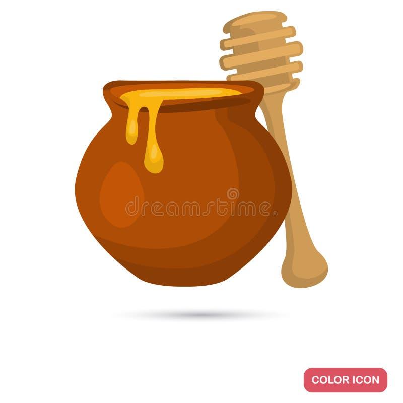 Tongefäß mit Honig und hölzerner Löffel färben flache Ikone lizenzfreie abbildung