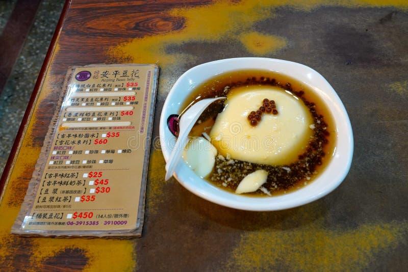 Tongji Anping Bean Jelly (Douhua) Ristorante famoso del budino del tofu a Tainan, Taiwan immagini stock libere da diritti