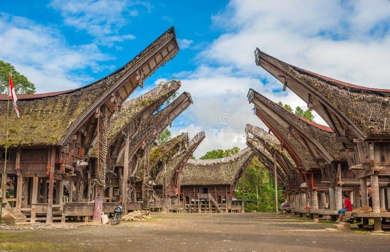 Tongkonan hus, traditionella Torajan byggnader, Tana Toraja arkivbild