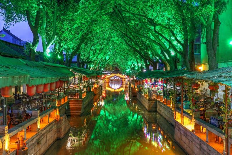 Tongli water town at night, China stock photos