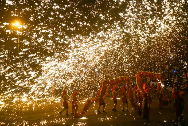 Tongliang Fire Dragon to celebrate Chinese Spring Festiva stock photography