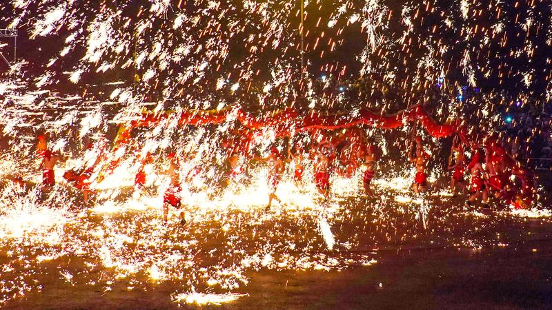 Tongliang Fire Dragon to celebrate Chinese Spring Festiva stock images