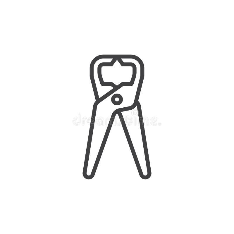 Tongs cążki, chwytniki wykładają ikonę, konturu wektoru znak, liniowy stylowy piktogram odizolowywający na bielu royalty ilustracja