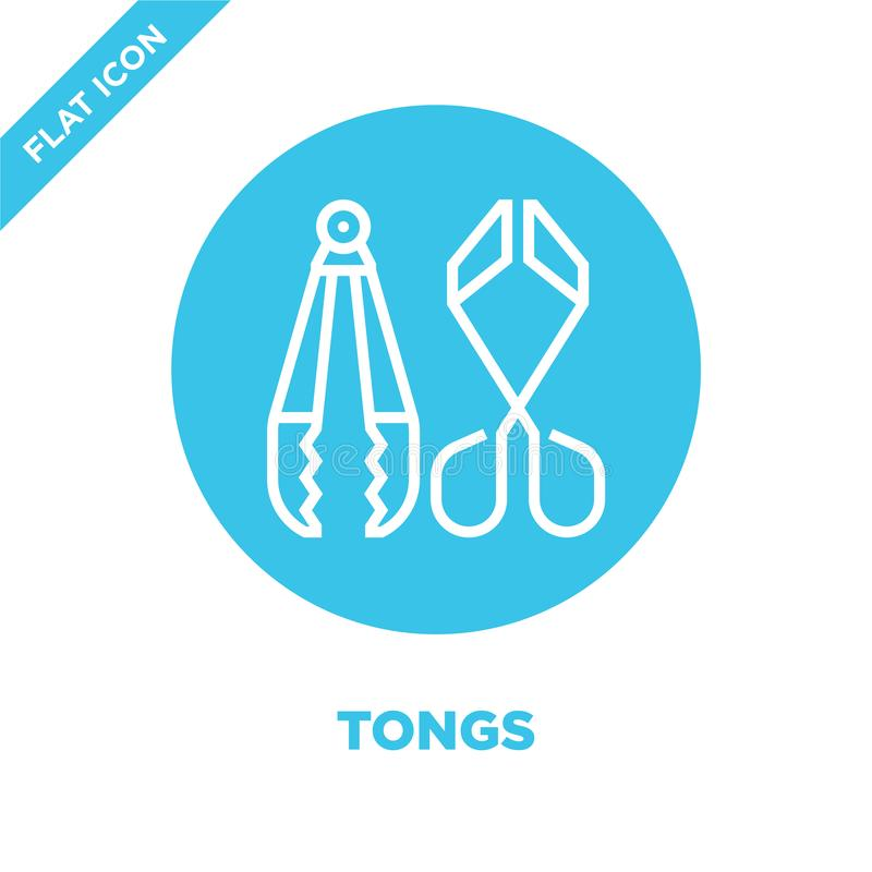 Tongs icon vector from bbq and grill collection. Thin line tongs outline icon vector  illustration. Linear symbol for use on web. And mobile apps, logo, print stock illustration
