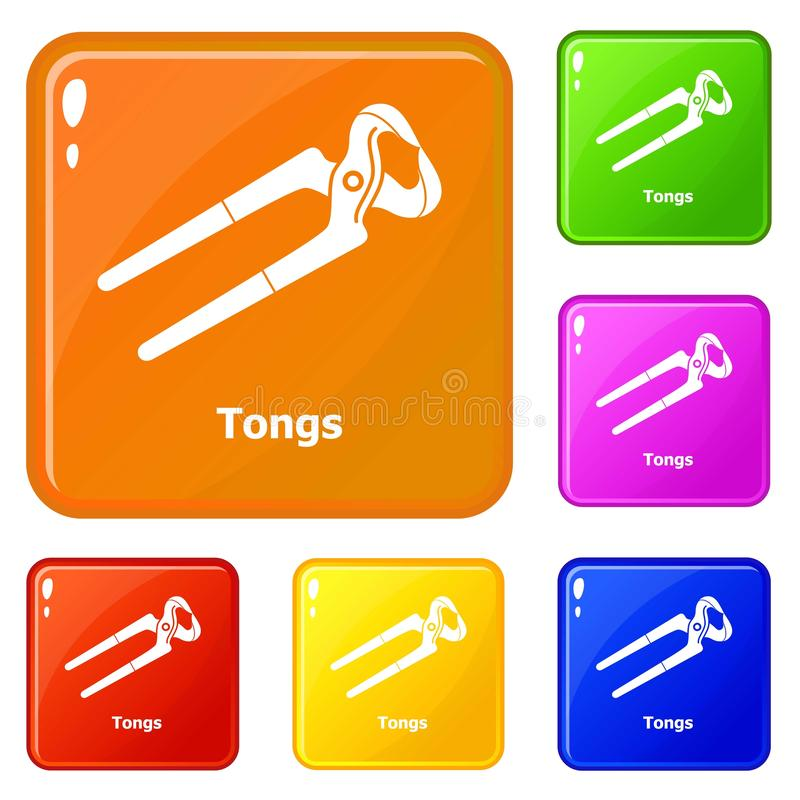 Tongs ikona ustawiaj?cy wektorowy kolor royalty ilustracja
