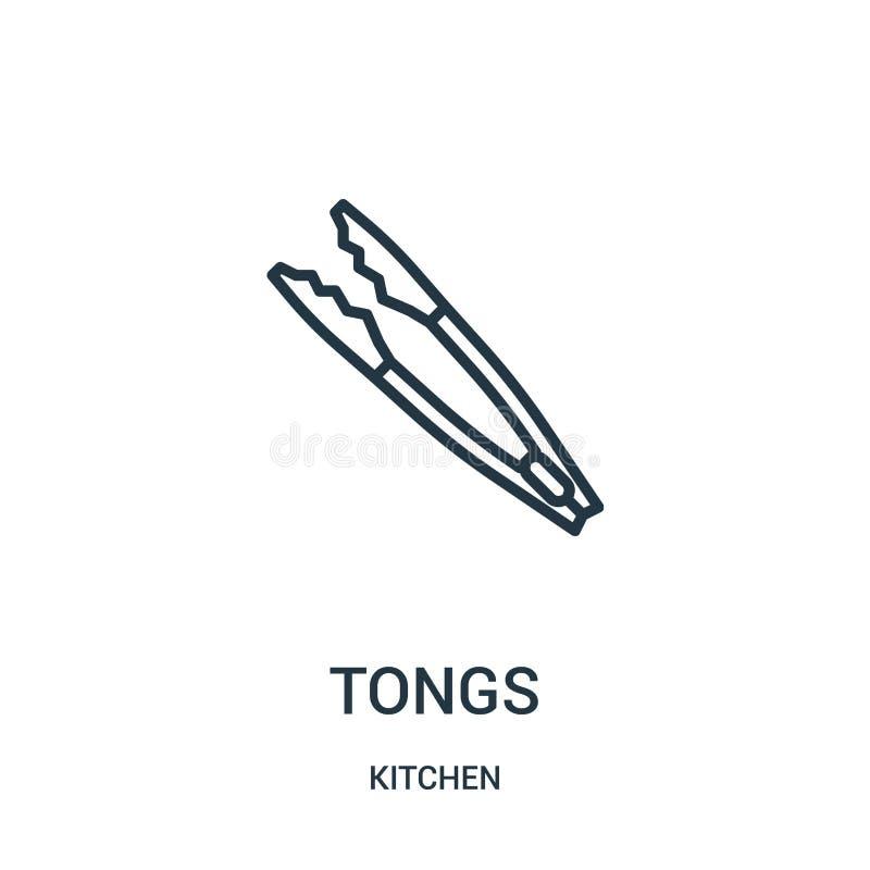 tongs ikony wektor od kuchennej kolekcji Cienka kreskowa tongs konturu ikony wektoru ilustracja ilustracji