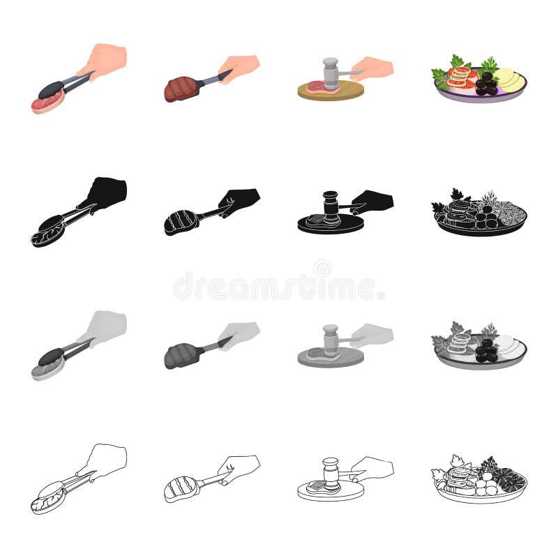Tongs z stkiem, jedzeniem, rybim stkiem z warzywami i cytryną, grill na miarce, kotlecik na tnącej desce Jedzenie i ilustracji