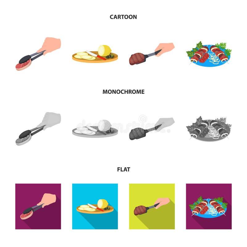 Tongs z stkiem, smażący mięso na miarce, pokrajać cytrynę i oliwki, shish kebab na talerzu z warzywami Jedzenie i royalty ilustracja