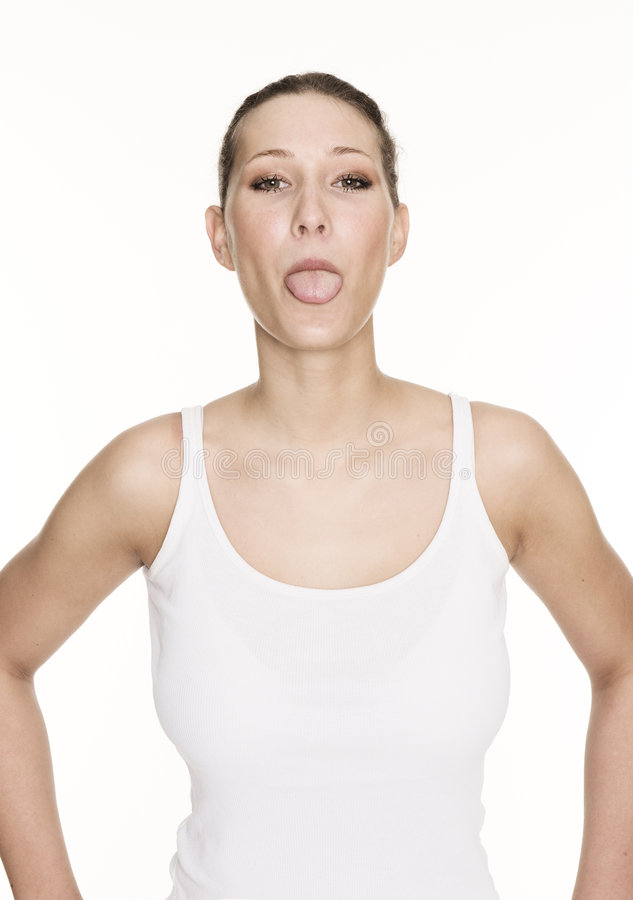 Tongue out stock photography