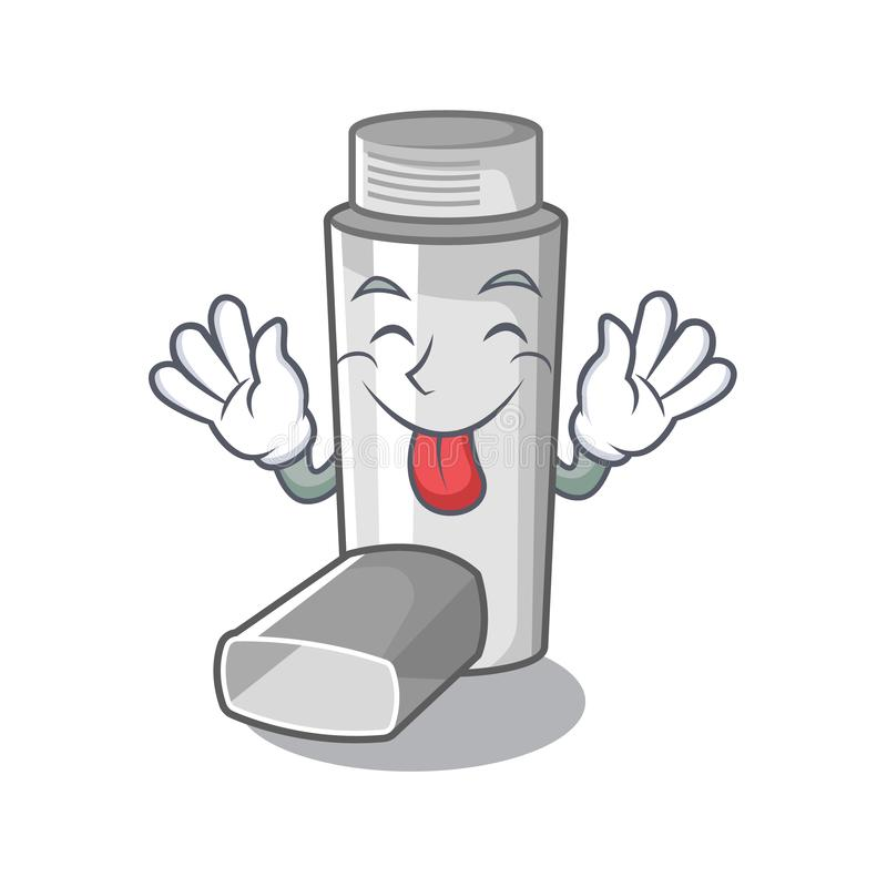 Tongue out asthma inhaler in the character bag. Vector illustration royalty free illustration